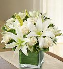 Modern Embrace White Rose and Lily Cube From Stellar, your flower shop in Sylvania, OH