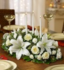All White Holiday Centerpiece From Stellar, your flower shop in Sylvania, OH
