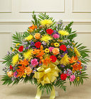 Heartfelt Tribute Bright Floor Basket Arrangement From Stellar, your flower shop in Sylvania, OH