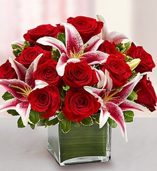 Modern Embrace - Red Rose and Lily Cube From Stellar, your flower shop in Sylvania, OH