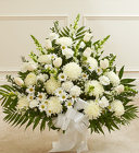Heartfelt Tribute White Floor Basket From Stellar, your flower shop in Sylvania, OH