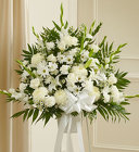Heartfelt Sympathies White Standing Basket From Stellar, your flower shop in Sylvania, OH